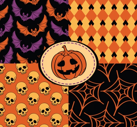 Halloween seamless with skull, pumpkin, web and bat Vector