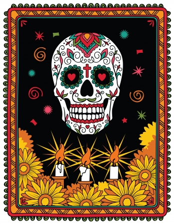 mexican cartoon: Pattern with mexican skull Illustration