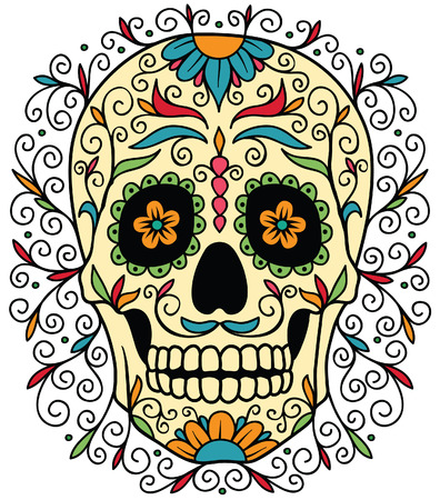 skull and flowers: Mexican sugar skull