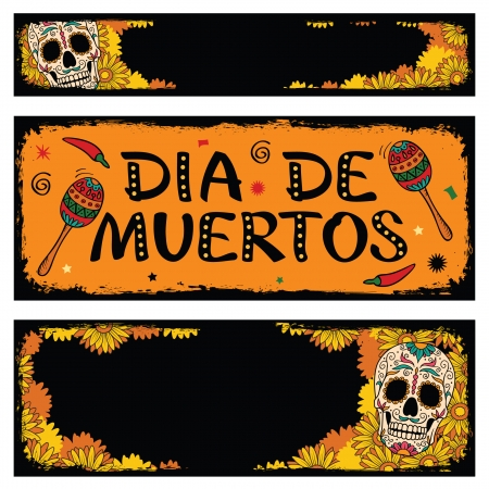 calendula: Frames with sugar skull of floral background