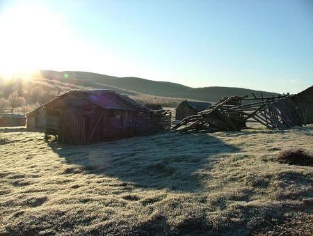 high plateau: Beautiful morning sun light at a cold high plateau