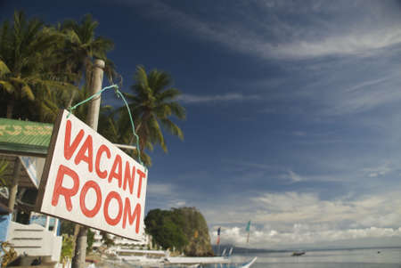 holidays vacancy: vacant room sign Stock Photo