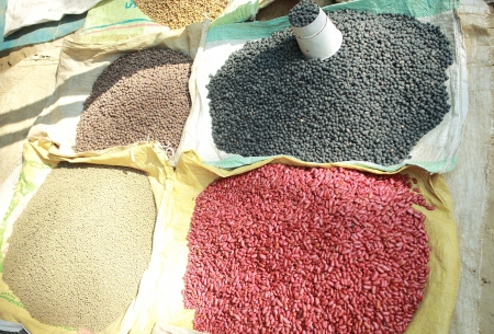 hinduist: Loads of beans black and red, along with lentils big and small, with a pot for measuring, placed on plastic mats on the ground for sale, at the entrance to the Dakshin Kali hinduist temple, Pharping, Kathmandu, Nepal