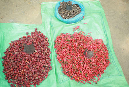 hinduist: Plastic fabric booths on the floor with heaps of dried, chili red peppers, along with metallic measurement units, entrance to the Dakshin Kali hindu temple, Pharping, Kathmandu, Nepal.