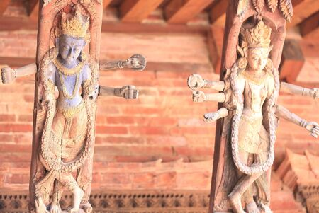 Wood carved roof beam painted in violet and golden colors, Mul Chowk-Central Courtyard   photo
