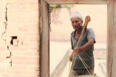 workingman: Nepali workingman in the Royal Palace-Bhaktapur-Nepal