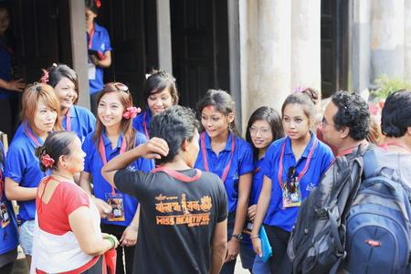 beauty contest: BANDIPUR, NEPAL - OCTOBER 6: The contestants of the Banlamha Mayaju-Miss Beautiful newari beauty contest visit the town on October 6, 2012 in Bandipur-Tanahu District-Gandaki Zone-Nepal. Editorial