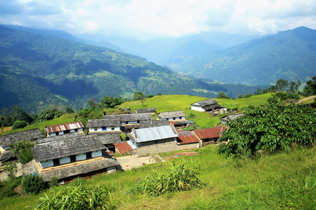 homesteads: Slate and tin roofs of the homesteads among paddy rice fields in Dhampus village on the  foothill slopes of the Annapurnas range in the Himalayas  Kaski district-Gandaki zone-Nepal  Stock Photo