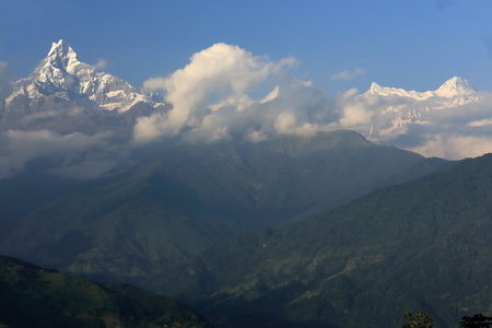 ms: The 6993 ms high Machhapuchhre-Machapuchare-Fish s Tail and 7525 ms high Annapurna IV seen from Dhampus on the Annapurnas Tour trekking route through the foothills of the Himalayas  Kaski district-Gandaki zone-Nepal