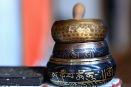 rin gong: Traditional asian pottery-nepalese singing bowls.  Stock Photo