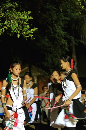 nightime: PATIHANI, NEPAL - OCTOBER 13: Girls of the Tharu people in their traditional dressing perform music and dance for the tourists in the Safari Narayani Lodge on October 13, 2012 in Ghatgain-Patihani-Chitwan distr.-Narayani zone-Nepal.