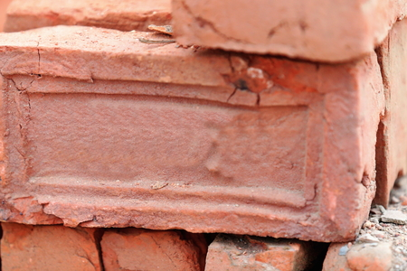 magnesia: Building materials: red bricks for construction piled on the floor of a street in Godawari-Lalitpur distr.-Bagmati zone-Nepal.
