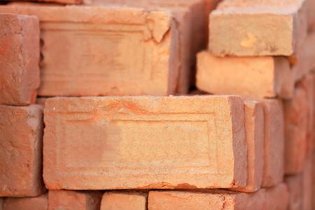 alumina: Building materials: red bricks for construction piled on the floor of a street in Godawari-Lalitpur distr.-Bagmati zone-Nepal.