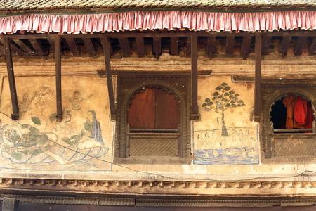 Sattal pilgrim.s house or showing frescoes of the Hindu mythology -Vishnu in cosmic sleep-Krishna Chased up a tree by naked Gopis or milkmaids. Khware shrine area in the Punyamati and Roshi rivers junction. Panauti-Kavrepalanchok distr.-Bagmati zone-Nepal