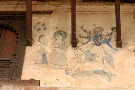 Fresco depicting hindu mythological scene on the outer wall of the Sattal-pilgrim.s house in the Tribheni Ghat area of ??the shrine Khware Punyamati and Roshi at the junction rivers. Panauti-Kavrepalanchok distr.-Bagmati zone-Nepal.