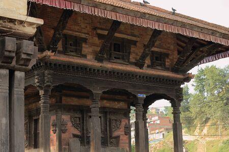 religious service: The Krishna Narayan temple near the Punyamati+Roshi khola-rivers junction at Tribheni Ghat-Khware shrine area. Panauti-Kavrepalanchok dstr.-Bagmati zone-Nepal. Stock Photo