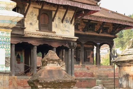 religious service: Hindu temples in the Tribheni Ghat or Khware shrine area at the Punyamati and Roshi khola-rivers junction= Krishna-Ahylia-Krishna Narayan. Panauti-Kavrepalanchok dstr.-Bagmati zone-Nepal. Stock Photo
