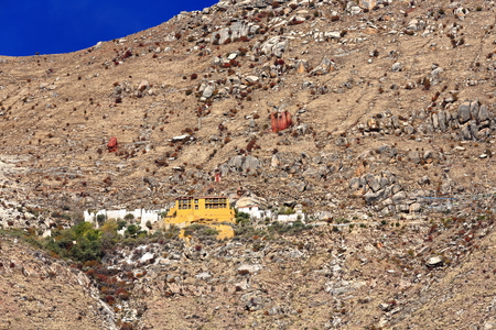 The Sera Utse hermitage-part of the 1419 AD.founded Sera-Wild Roses buddhist monastery of the Gelugpa-Yellow Hat order on the slope of Pubuchok mountain. Lhasa pref.-Tibet A.R.-China. Editorial