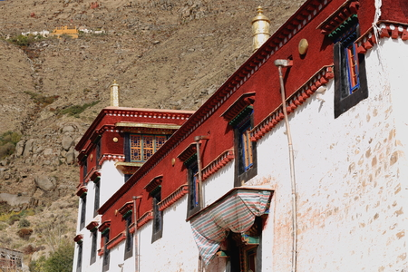 The white and red stone wall of building in the 1419 AD.founded Sera-Wild Roses buddhist monastery of the Gelugpa-Yellow Hat order on the slope of Pubuchok mountain seen among green tree branches. Lhasa pref.-Tibet A.R.-China.