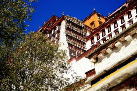dalai: Buildings on the grounds of the Potala palace with the Potrang Marpo-Red Palace to the west at 3700 ms.high over Marpo Ri-hill overlooking Lhasa town. Tibet A.R.-China.