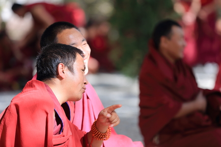gelugpa: SERA, TIBET, CHINA - OCTOBER 19: Monks debate on doctrine-part of learning process-better comprehension of philosophy-higher study level on October 19, 2012. Sera-Wild Roses monast.of Gelugpa-Yellow Hat order. Pubuchok mountain slope-Lhasa pref.-Tibet-Chi Editorial