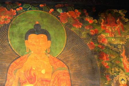 disciples: Buddhist painting on wall inside the AD.642 founded25000 m2 JokhangHouse of Buddha temple. LhasaTibet. Stock Photo