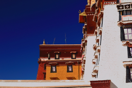 Potala palace with the Potrang Karpo and MarpoRed and White palaces