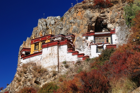 orison: Lhakhang Pukcave. Here Lhalung Pelgyi Dorje is said to have meditated for 22 years beginning in 842 AD. Drak Yerpa monast.complex of more than 80 meditation caves. Lhasa pref.Tibet. Stock Photo