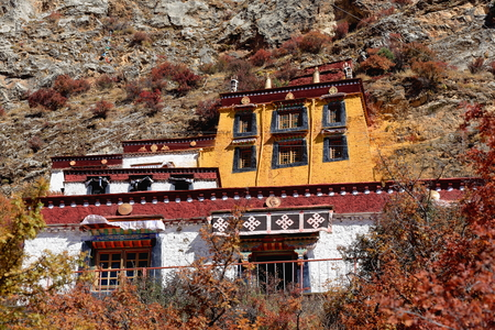 orison: Main buildings of the Drak Yerpa monastery perched on the southwards facing slope of the mountaincomplex of more than 80 meditation caves. Lhasa pref.Tibet A.R.China. Editorial