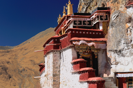 Lhakhang Pukcave. Here Lhalung Pelgyi Dorje is said to have meditated for 22 years from 842 AD on. Drak Yerpa monast.complex of more than 80 meditation caves. Lhasa pref.Tibet photo