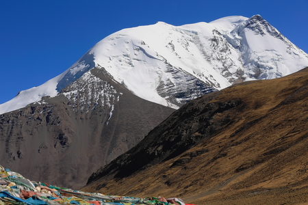 falltime: The 6674 ms.high mount Kalurong or Kaluxung seen towards the South from the 5036 ms.high Karo Lamountain pass in the Lhagoi Kangri range of the Himalayas. Lhoka or Shannan pref.Tibet.
