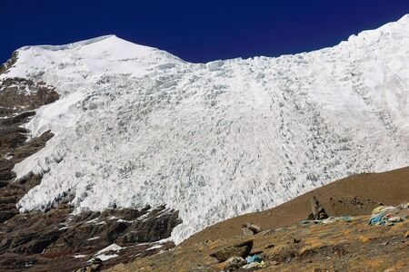 falltime: The 6773 ms.high Togolung mount left and the 7206 ms.high Nojin Kangsang mount and glacier right seen towards the North from the 5036 ms.high KaroLa pass in the Himalayan Lhagoi Kangri range. Tibet. Stock Photo