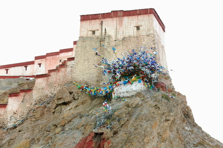 vigilance: The 1394 AD.built Dzong-fort seen from the lower part of the town at 3977 ms. Gyantse city and county-Shigatse pref.-Tibet. Editorial