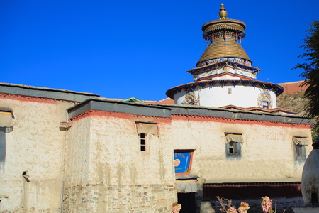 oration: The 1427 AD built Kumbum or Tashigomang pagoda jutting over the Tsuklakhang temple in the 1418 AD.