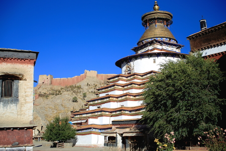 orison: Inside the 1418 AD founded Pelkhor Chode-monastery. The Kumbum or Tashigomang pagoda of 9 tiers and 76 shrines beside the Tsuklakhang temple. Gyantse city and county-Shigatse prefecture-Tibet-China. Editorial
