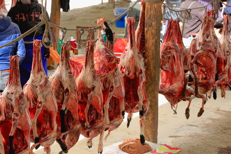 shop for animals: Lambs bodies hanging from metallic hooks strung on a rope in a food market in the 3840 ms.high Shigatse city-county and prefecture. Tibet.