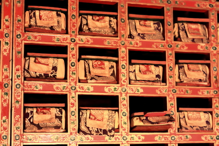 lacquer ware: Library of buddhist scrolls. Nunnery on Ponpori Hill-Trum or Chong Chu-river right bank. Grounds of the 1073 AD-Khon Konchog Gyalpo founded old North Seat of Sakya-Grey Soil monastery. Sakya-Tibet.