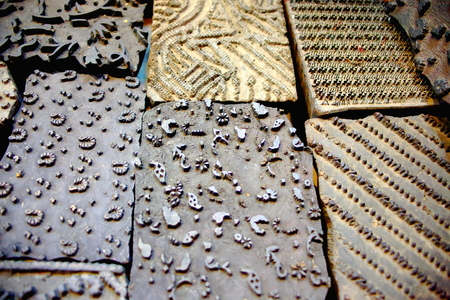 slew: Traditional nepalese types for woodblock printing in the windowshop of a souvenir shop in the Thamel area of Kathmandu city. Kathmandu district-Bagmati zone-Nepal.