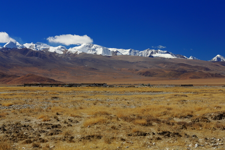 tableland: View of the high Himalayas-Labuche or Lapche Himal section from the tibetan plateau Tingri-Lawn Mountain town at 4348 ms. Tingri county-Shigatse pref.-Tibet.