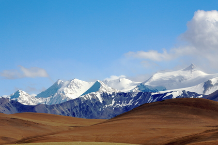 ranging: Peaks-extreme NE.of Lapche or Labuche Himal section-high Himalayas-altitudes ranging R.to L.from 7080 to 6350 ms. From Tong La pass at 5120 ms.-Friendship Highway between Tingri and Nyalam towns-Tibet Stock Photo