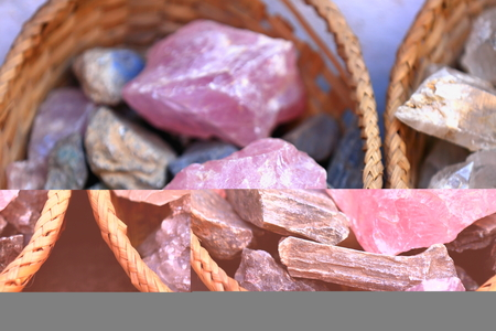 slew: Nepalese pink quartz stones set for sale inside a wicker basket in the windowshop of a souvenirs and minerals selling shop in the Thamel area of Kathmandu city. Kathmandu district-Bagmati zone-Nepal.