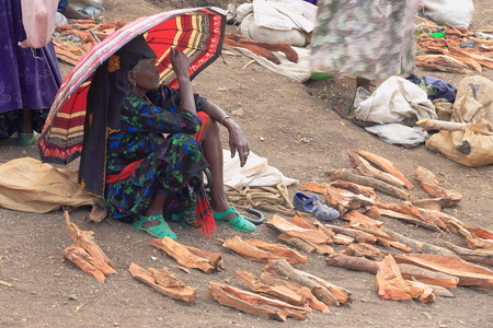 sunday market: SENBETE, ETHIOPIA-MARCH 24:Old woman of the oromos sells firewood at the sunday market where the oromo-amhara-afar peoples meet on March 24, 2013. Senbete-Oromia zone-Amhara region-Ethiopia.
