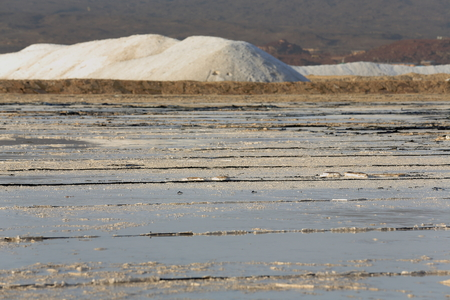briny: Salt works-artificial pond for water evaporation-salt mounds beside the E.shore on the S.section of the c.100 km2-102 ms.below sea level-160 ms.deep Lake Afrera. Administr.zone 2-Afar region-Ethiopia