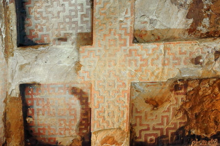 orison: Cross-shaped carving with labyrinthic pattern design decoration-ceiling of the ethiopian orthodox christian church of Wukro Chirkos. Wukro town at 1972 ms.high-Misraqawi zone-Tigray region-Ethiopia.