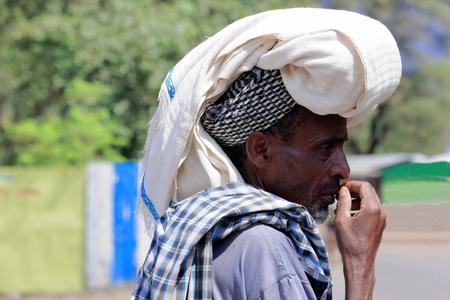 head scarf: DEBRE BIRHAN, ETHIOPIA-MARCH 30: Amharic man wears enormous head scarf as example of the local use for headdresses on March 30, 2013 in Debre Birhan-Semien North Shewa zone-Amhara region. Editorial