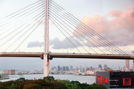 Tempozan Ohashi or Great Bridge over the mouth of the Ajigawa river with 152 ms.at its largest span. Minato ku or ward facing the bay. Osaka-Japan.