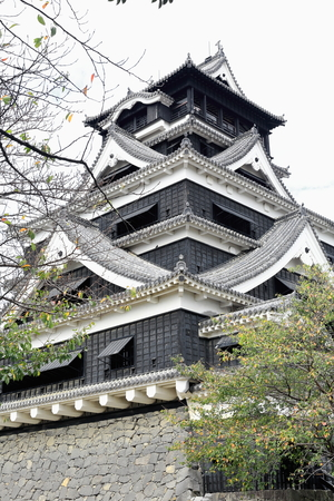 The donjon or central keep of the castle is a reconstruction built in the 1970s of the original sacked and burned during the AD.1877 Satsuma rebellion. Kumamoto city and prefecture-Kyushu island-Japan Editorial