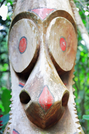 anthropomorphous: Wooden tam tam or split gong sculpted out of tree trunk representative of the local men.s mage society and proportional in number to their status. Olal village-Ambrym island-Malampa prov.-Vanuatu. Stock Photo