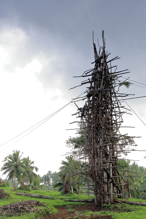 traditional custom: C.25 ms.tall tower for local nanggol or land diving ritual performed april-june by the men with vines tied to their feet to ensure good yam harvest-origin of modern bungee. Panngi-Pentecost-Vanuatu.
