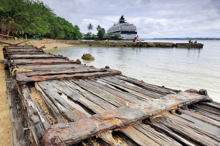 Cruise ship moored to the dock in the Segond Channel port area while passengers disembarked ashore go visiting the city and nearby crafts market. Luganville-Espiritu Santo island-Sanma prov.-Vanuatu